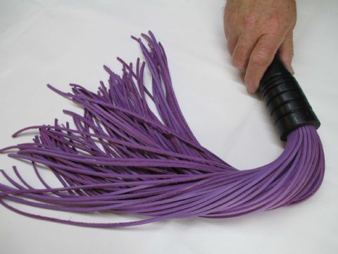 Ebonised English Oak 3mm wide Falls Light Purple Leather Flogger